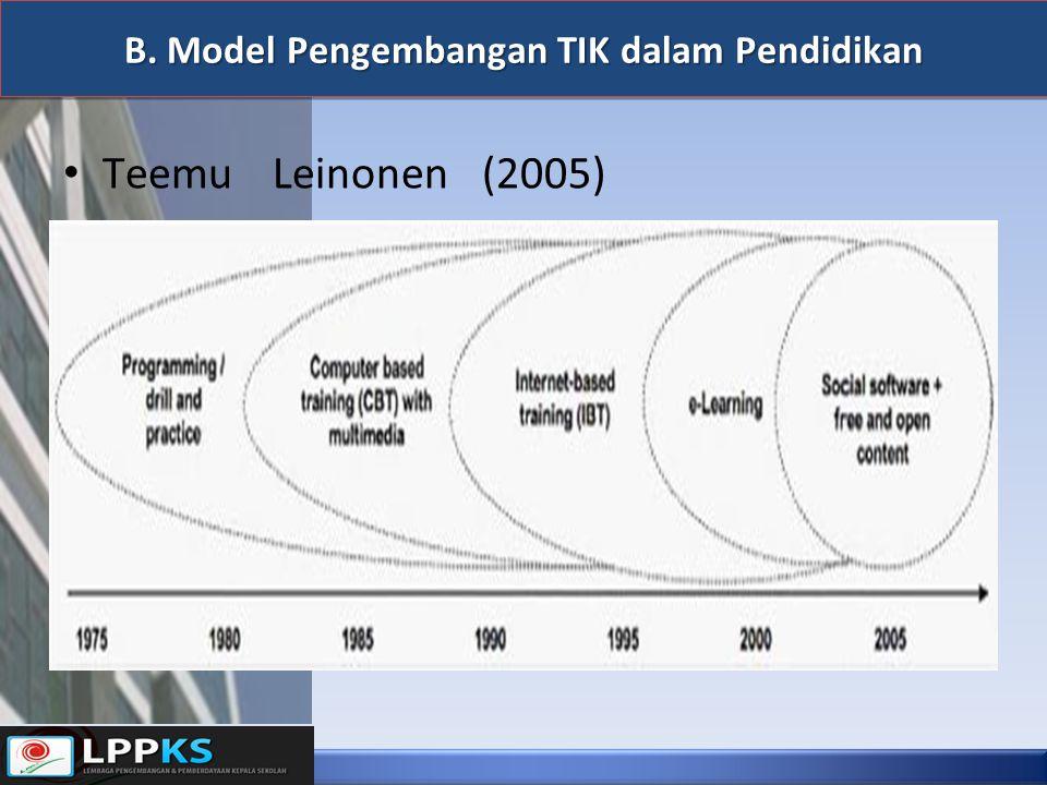 B. Model Pengembangan TIK dalam Pendidikan TeemuLeinonen(2005)