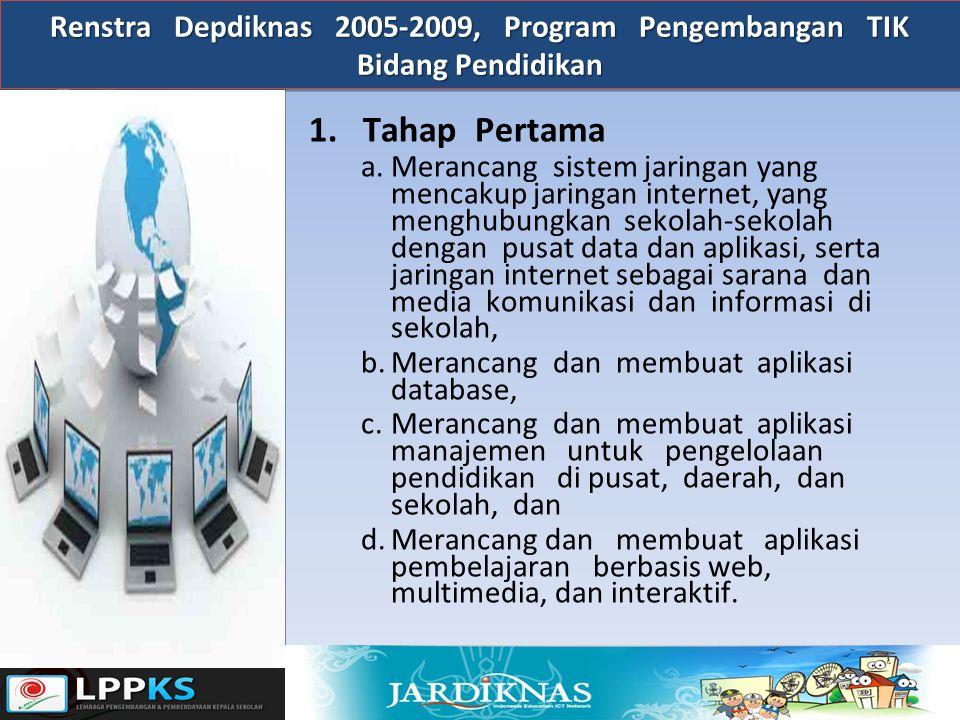 Renstra Depdiknas 2005-2009, Program Pengembangan TIK Bidang Pendidikan 1.Tahap Pertama a.Merancang sistem jaringan yang mencakup jaringan internet, y
