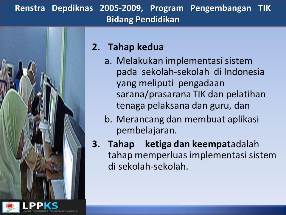 2.Tahap kedua a.Melakukan implementasi sistem pada sekolah-sekolah di Indonesia yang meliputi pengadaan sarana/prasarana TIK dan pelatihan tenaga pela
