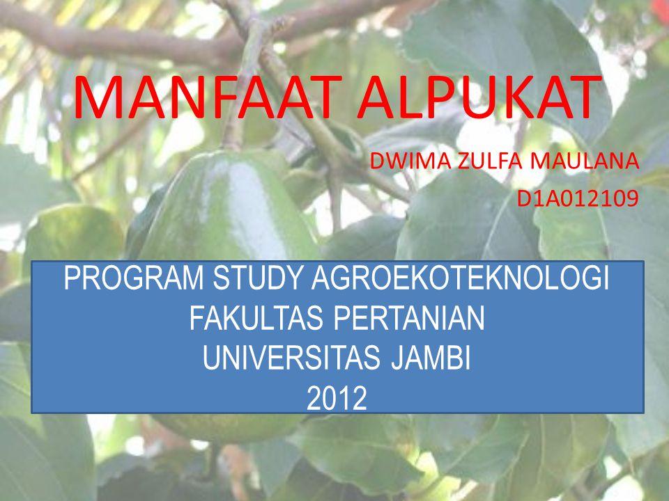 MANFAAT ALPUKAT DWIMA ZULFA MAULANA D1A012109 PROGRAM STUDY AGROEKOTEKNOLOGI FAKULTAS PERTANIAN UNIVERSITAS JAMBI 2012