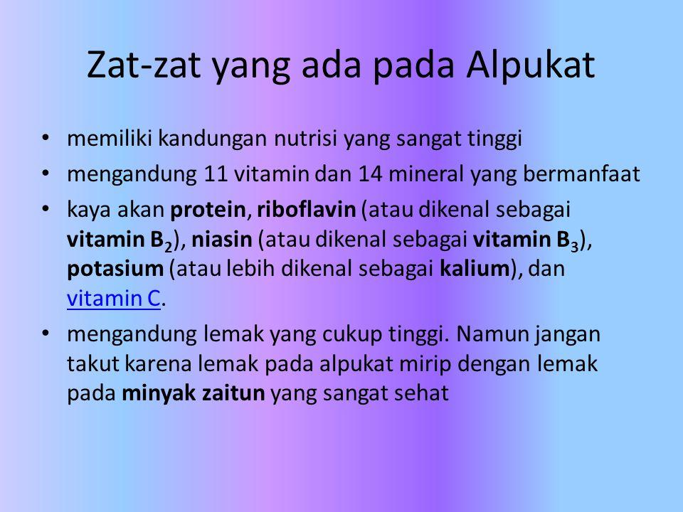 Zat-zat yang ada pada Alpukat memiliki kandungan nutrisi yang sangat tinggi mengandung 11 vitamin dan 14 mineral yang bermanfaat kaya akan protein, ri