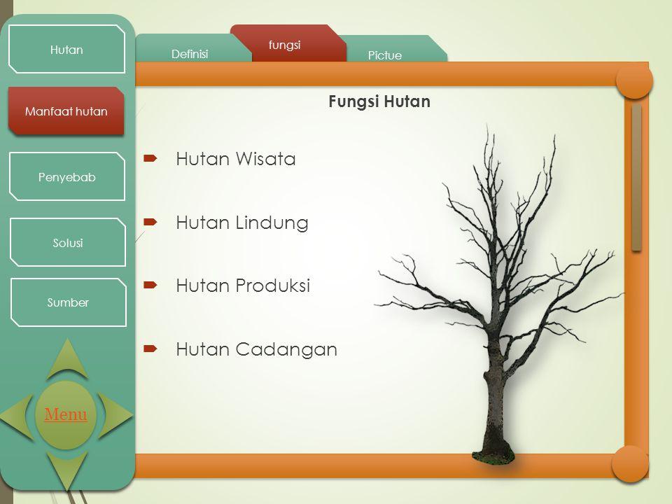 Pictue fungsi Definisi Hutan Manfaat hutan Penyebab Solusi Sumber Fungsi Hutan  Hutan Wisata  Hutan Lindung  Hutan Produksi  Hutan Cadangan Menu
