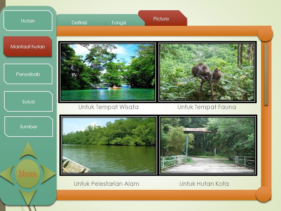 Picture Fungsi Definisi Hutan Manfaat hutan Penyebab Solusi Sumber Untuk Tempat Wisata Untuk Tempat Fauna Untuk Pelestarian Alam Untuk Hutan Kota Menu