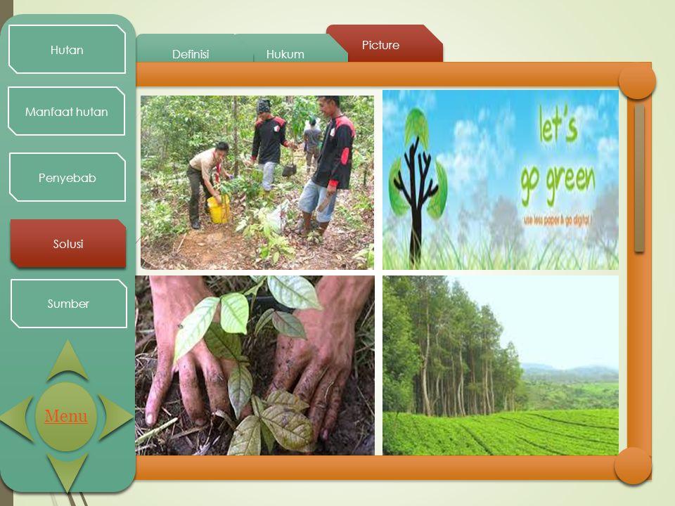 Picture Hukum Definisi Hutan Manfaat hutan Penyebab Solusi Sumber Menu