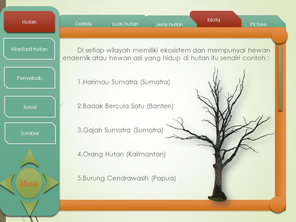 Picture biota Jenis hutan Luas hutan Definisi Hutan Manfaat hutan Penyebab Solusi Sumber Di setiap wilayah memiliki ekosistem dan mempunyai hewan ende
