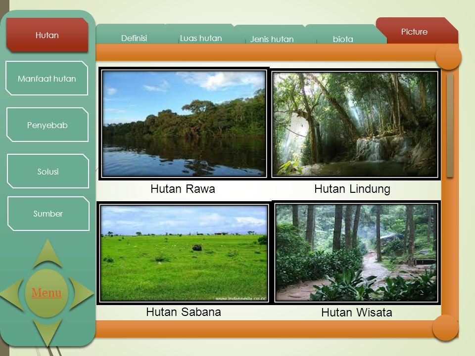Picture biota Jenis hutan Luas hutan Definisi Hutan Manfaat hutan Penyebab Solusi Sumber Hutan RawaHutan Lindung Hutan Sabana Hutan Wisata Menu