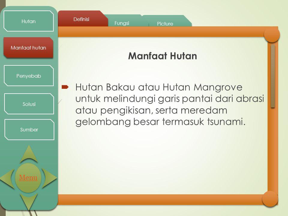 Picture Fungsi Definisi Hutan Manfaat hutan Penyebab Solusi Sumber Manfaat Hutan  Hutan Bakau atau Hutan Mangrove untuk melindungi garis pantai dari