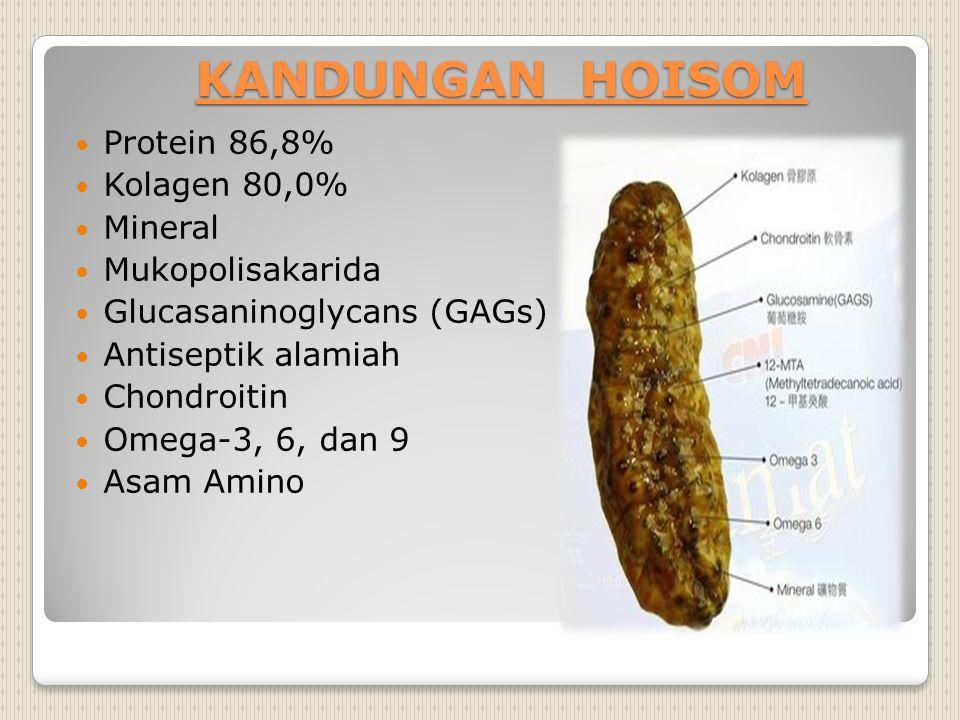 KANDUNGAN HOISOM Protein 86,8% Kolagen 80,0% Mineral Mukopolisakarida Glucasaninoglycans (GAGs) Antiseptik alamiah Chondroitin Omega-3, 6, dan 9 Asam
