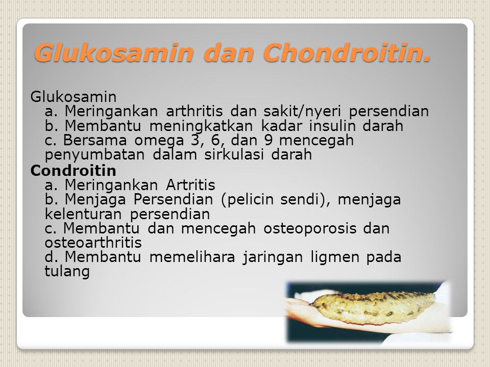 Glukosamin dan Chondroitin. Glukosamin a. Meringankan arthritis dan sakit/nyeri persendian b. Membantu meningkatkan kadar insulin darah c. Bersama ome