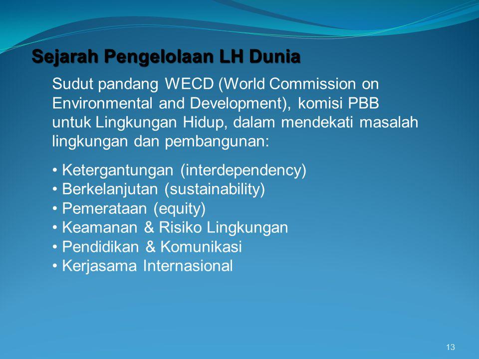13 Sejarah Pengelolaan LH Dunia Sudut pandang WECD (World Commission on Environmental and Development), komisi PBB untuk Lingkungan Hidup, dalam mende