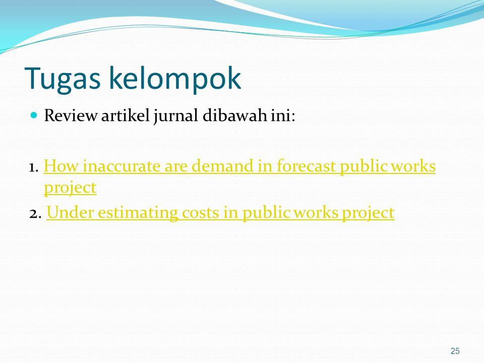 Tugas kelompok Review artikel jurnal dibawah ini: 1. How inaccurate are demand in forecast public works projectHow inaccurate are demand in forecast p