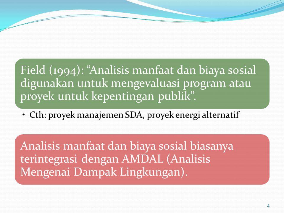 """Field (1994): """"Analisis manfaat dan biaya sosial digunakan untuk mengevaluasi program atau proyek untuk kepentingan publik"""". Cth: proyek manajemen SDA"""
