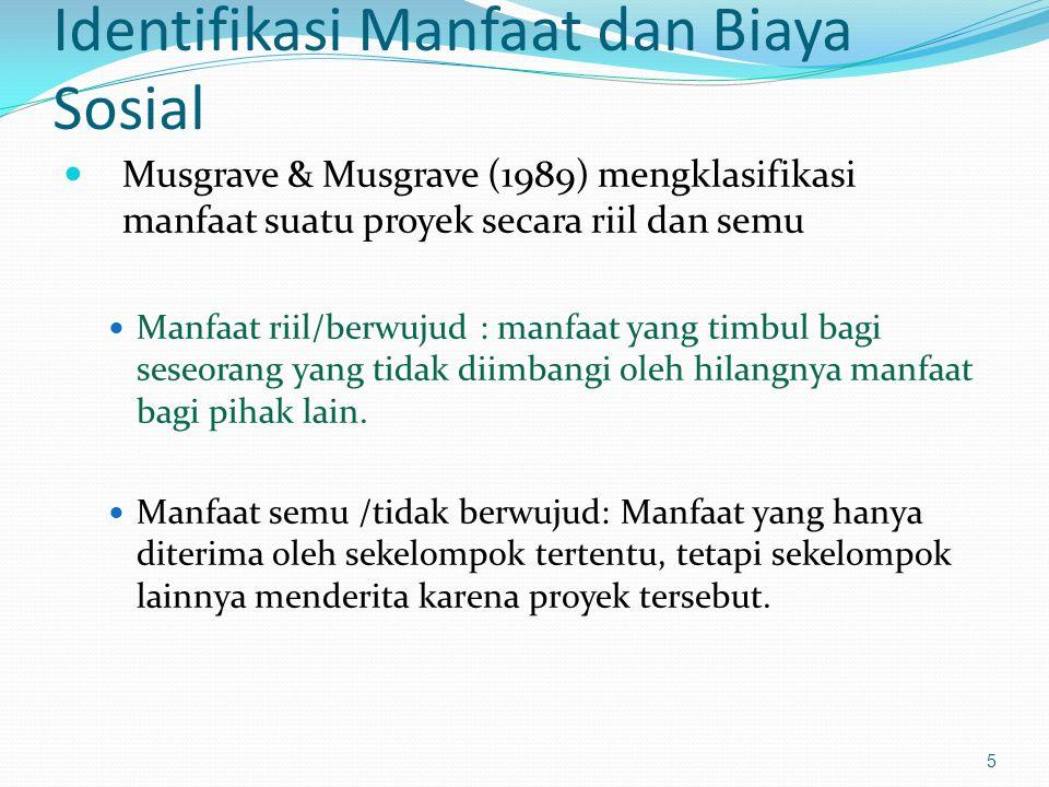 Identifikasi Manfaat dan Biaya Sosial Musgrave & Musgrave (1989) mengklasifikasi manfaat suatu proyek secara riil dan semu Manfaat riil/berwujud : man