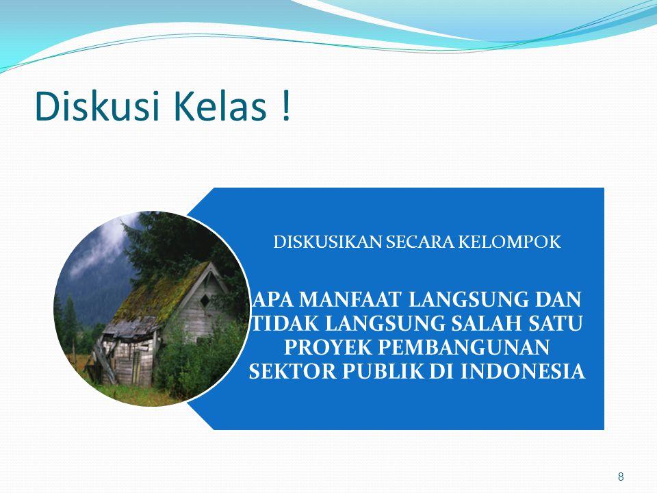 Diskusi Kelas ! DISKUSIKAN SECARA KELOMPOK APA MANFAAT LANGSUNG DAN TIDAK LANGSUNG SALAH SATU PROYEK PEMBANGUNAN SEKTOR PUBLIK DI INDONESIA 8