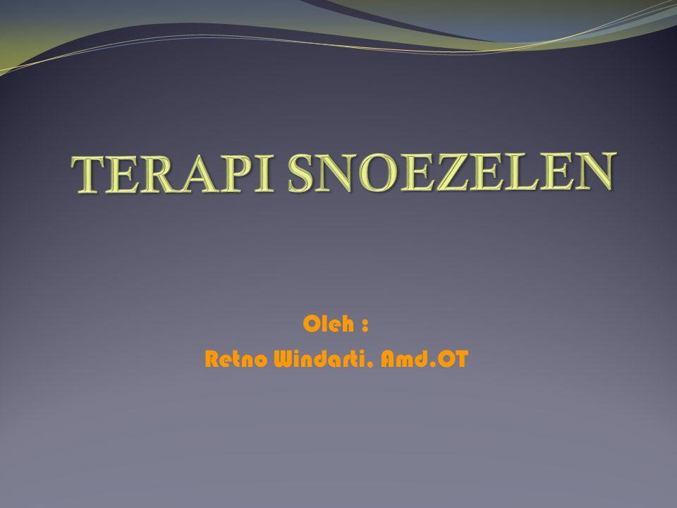 Pengenalan Snoezelen Snoezelen berasal bahasa belanda yakni : snuffelen (to sniff) : aktif, eksplorasi doezelen (to doze) : pasif, relaksasi dan nyaman.