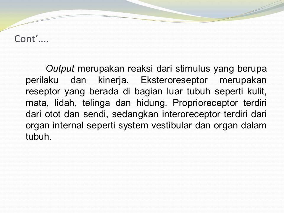 Cont'…. Output merupakan reaksi dari stimulus yang berupa perilaku dan kinerja. Eksteroreseptor merupakan reseptor yang berada di bagian luar tubuh se
