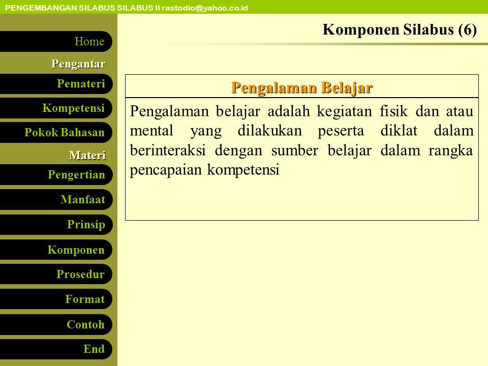 PENGEMBANGAN SILABUS SILABUS II rastodio@yahoo.co.id Kompetensi Pokok Bahasan Pengertian Manfaat Pemateri Prinsip KomponenPengantar Materi Prosedur Fo