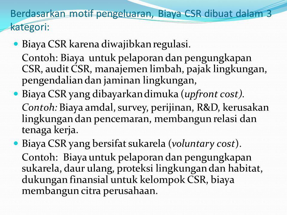 Berdasarkan motif pengeluaran, Biaya CSR dibuat dalam 3 kategori: Biaya CSR karena diwajibkan regulasi. Contoh: Biaya untuk pelaporan dan pengungkapan