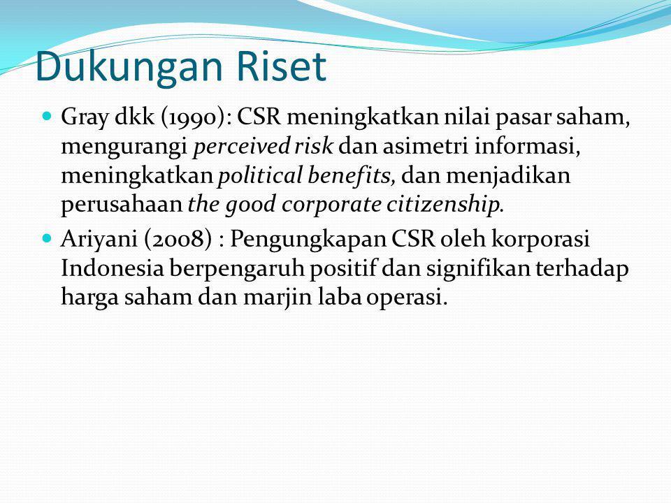 Dukungan Riset Gray dkk (1990): CSR meningkatkan nilai pasar saham, mengurangi perceived risk dan asimetri informasi, meningkatkan political benefits, dan menjadikan perusahaan the good corporate citizenship.
