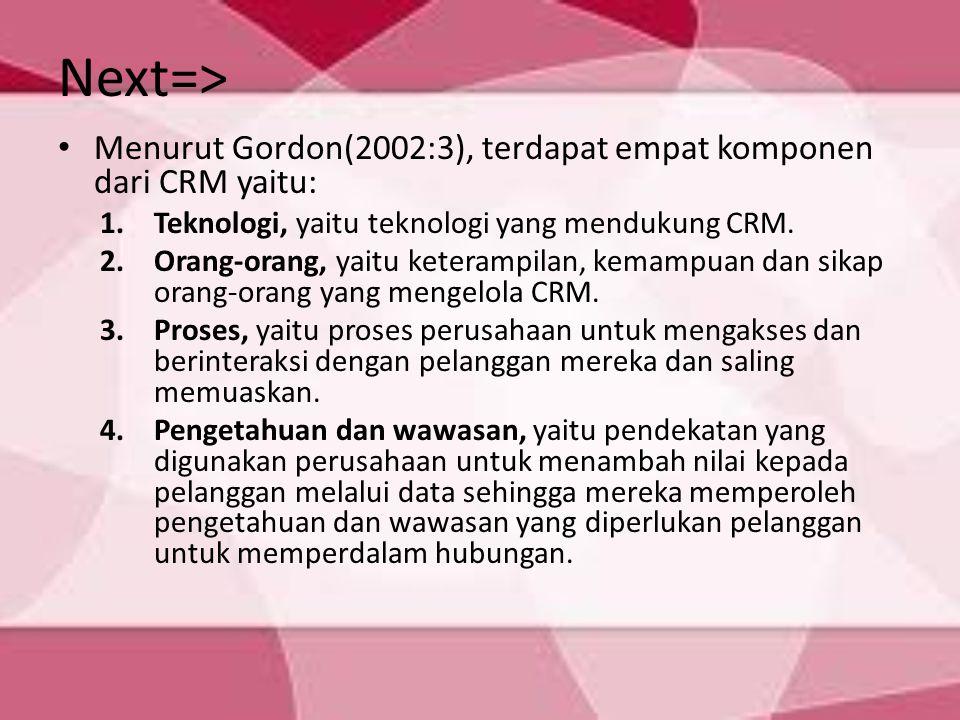 Next=> Menurut Gordon(2002:3), terdapat empat komponen dari CRM yaitu: 1.Teknologi, yaitu teknologi yang mendukung CRM. 2.Orang-orang, yaitu keterampi