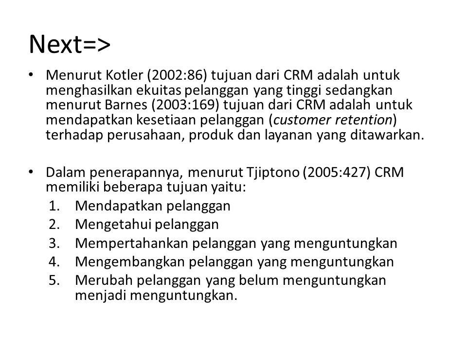 Next=> Menurut Kotler (2002:86) tujuan dari CRM adalah untuk menghasilkan ekuitas pelanggan yang tinggi sedangkan menurut Barnes (2003:169) tujuan dar