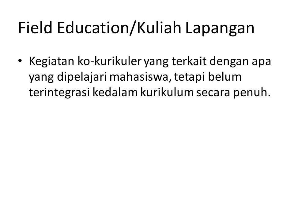 Field Education/Kuliah Lapangan Kegiatan ko-kurikuler yang terkait dengan apa yang dipelajari mahasiswa, tetapi belum terintegrasi kedalam kurikulum s