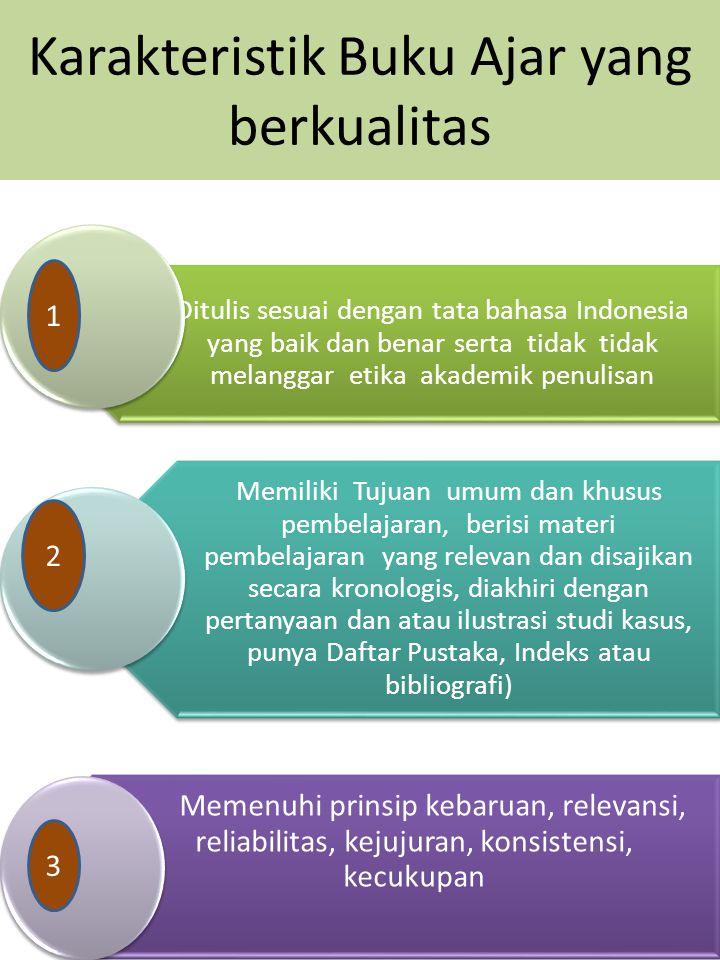 Karakteristik Buku Ajar yang berkualitas Ditulis sesuai dengan tata bahasa Indonesia yang baik dan benar serta tidak tidak melanggar etika akademik pe