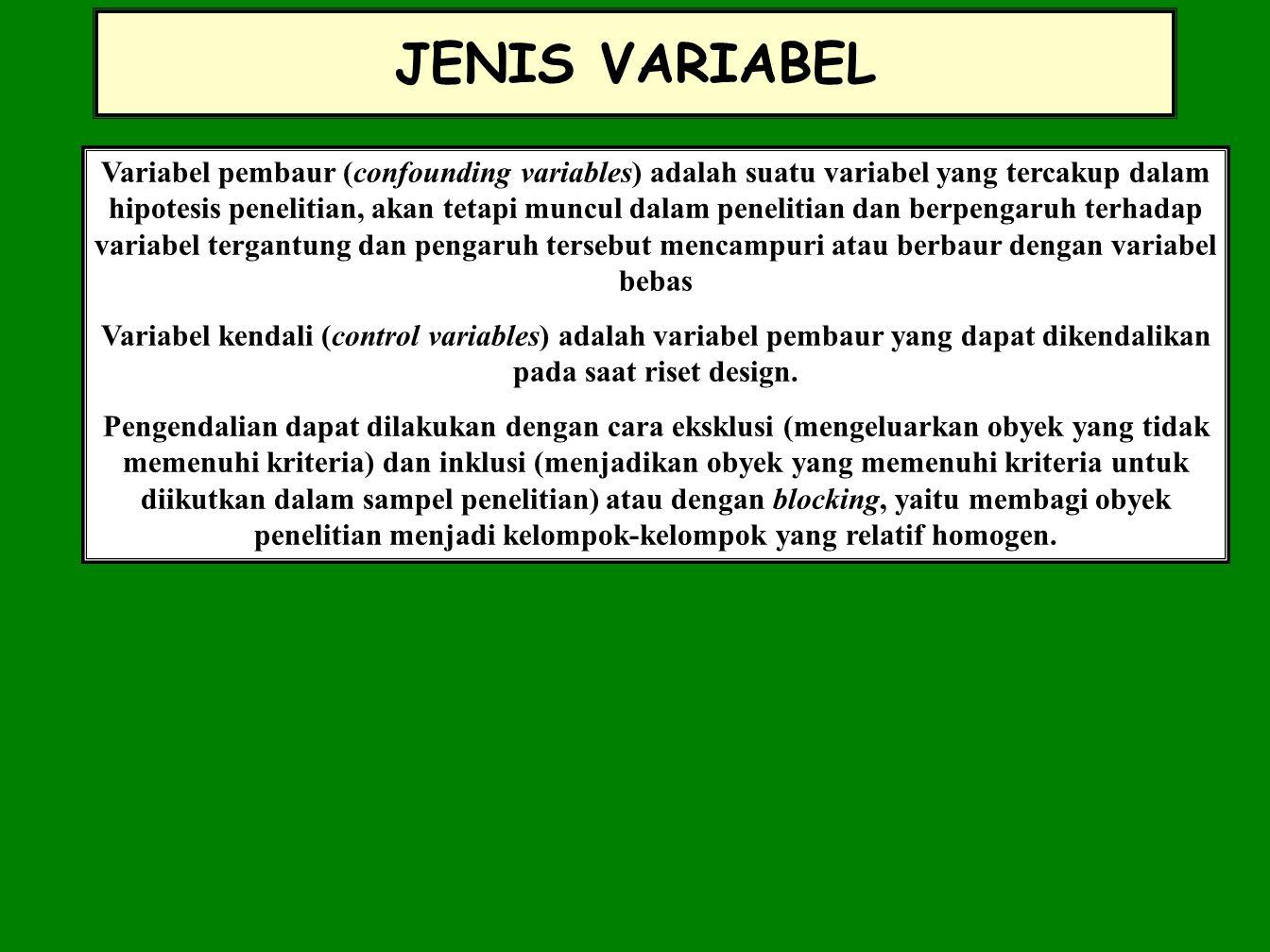 JENIS VARIABEL Variabel pembaur (confounding variables) adalah suatu variabel yang tercakup dalam hipotesis penelitian, akan tetapi muncul dalam penel