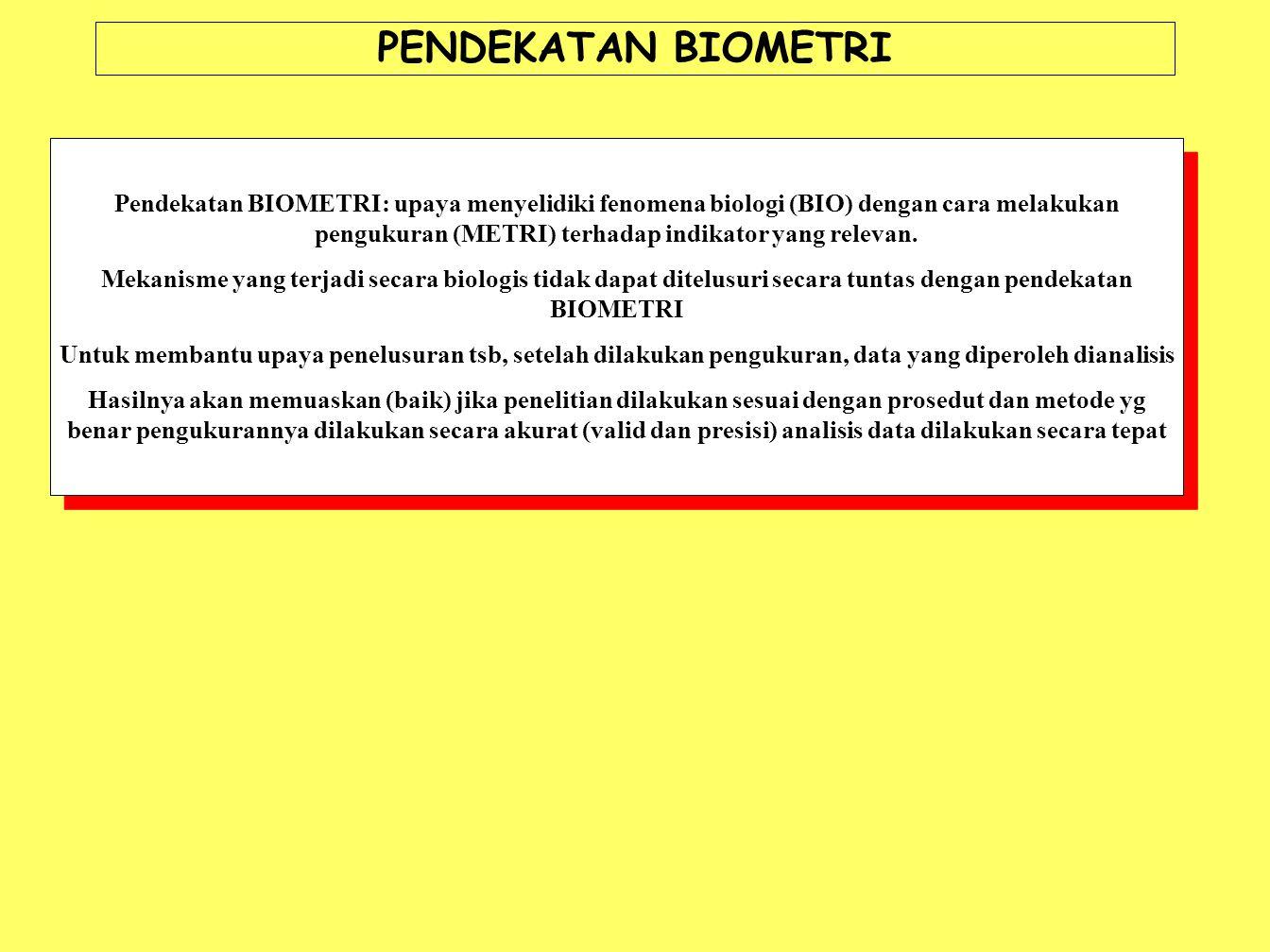 PENDEKATAN BIOMETRI Pendekatan BIOMETRI: upaya menyelidiki fenomena biologi (BIO) dengan cara melakukan pengukuran (METRI) terhadap indikator yang rel