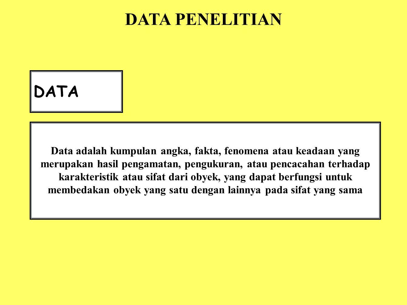 DATA Data adalah kumpulan angka, fakta, fenomena atau keadaan yang merupakan hasil pengamatan, pengukuran, atau pencacahan terhadap karakteristik atau