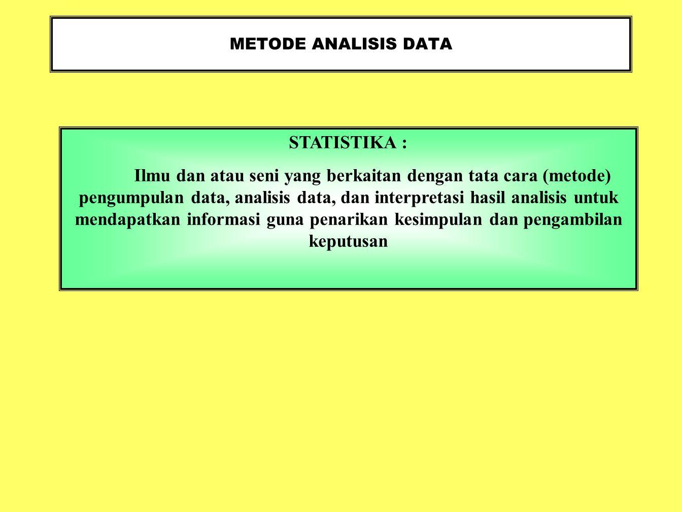METODE ANALISIS DATA STATISTIKA : Ilmu dan atau seni yang berkaitan dengan tata cara (metode) pengumpulan data, analisis data, dan interpretasi hasil