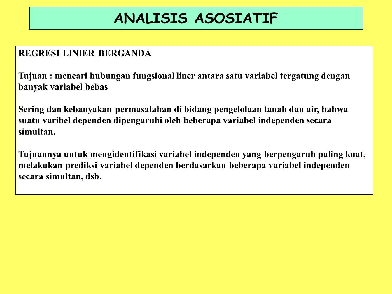 ANALISIS ASOSIATIF REGRESI LINIER BERGANDA Tujuan : mencari hubungan fungsional liner antara satu variabel tergatung dengan banyak variabel bebas Seri