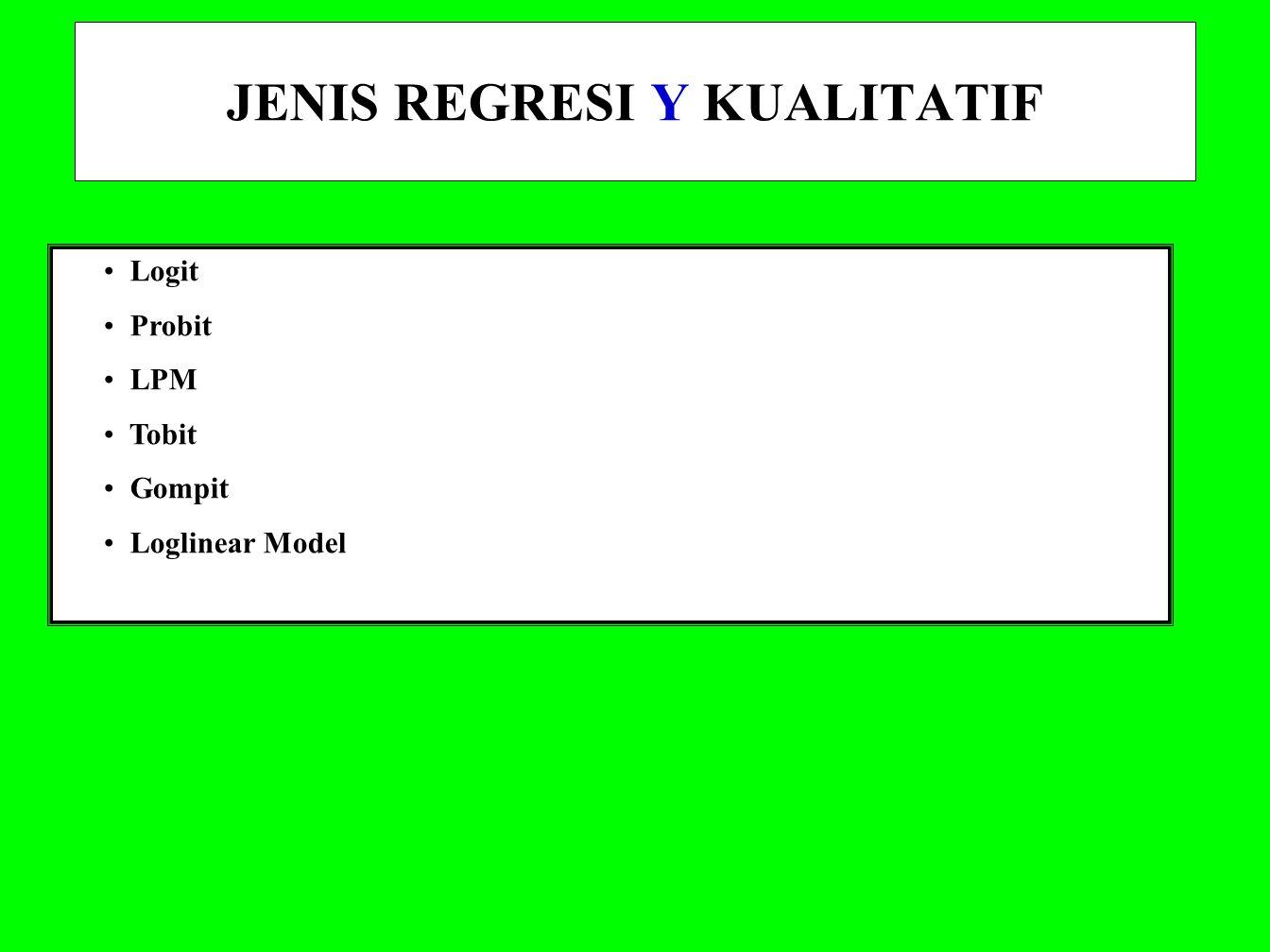 JENIS REGRESI Y KUALITATIF Logit Probit LPM Tobit Gompit Loglinear Model