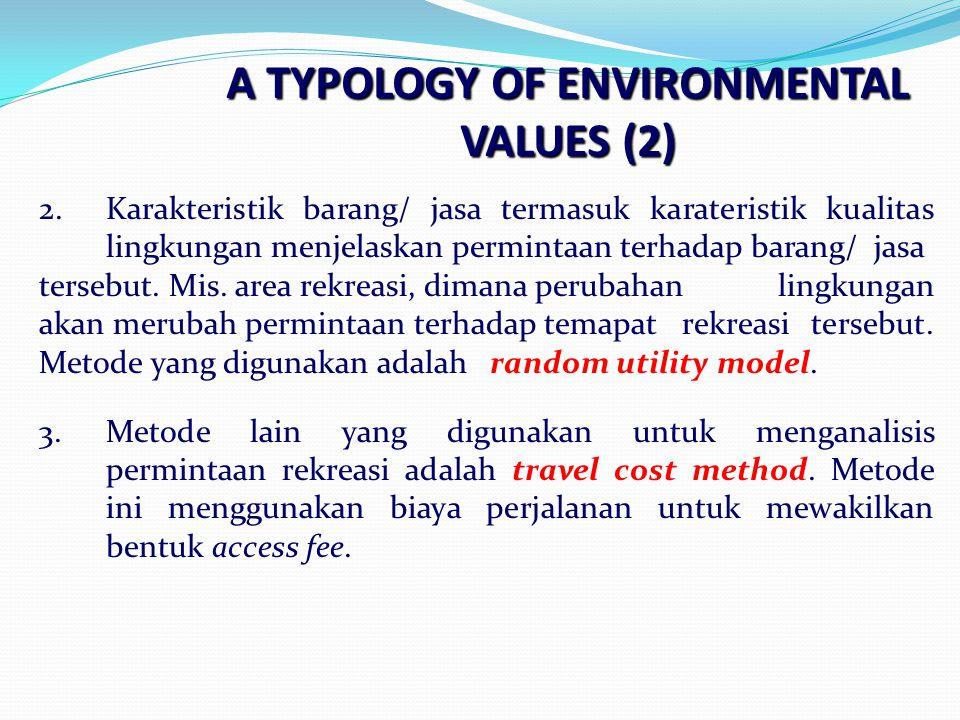A TYPOLOGY OF ENVIRONMENTAL VALUES (2) 2.Karakteristik barang/ jasa termasuk karateristik kualitas lingkungan menjelaskan permintaan terhadap barang/ jasa tersebut.