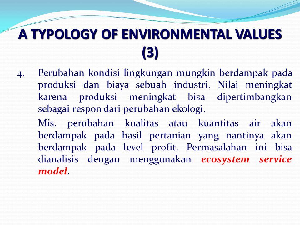 A TYPOLOGY OF ENVIRONMENTAL VALUES (3) 4.Perubahan kondisi lingkungan mungkin berdampak pada produksi dan biaya sebuah industri.