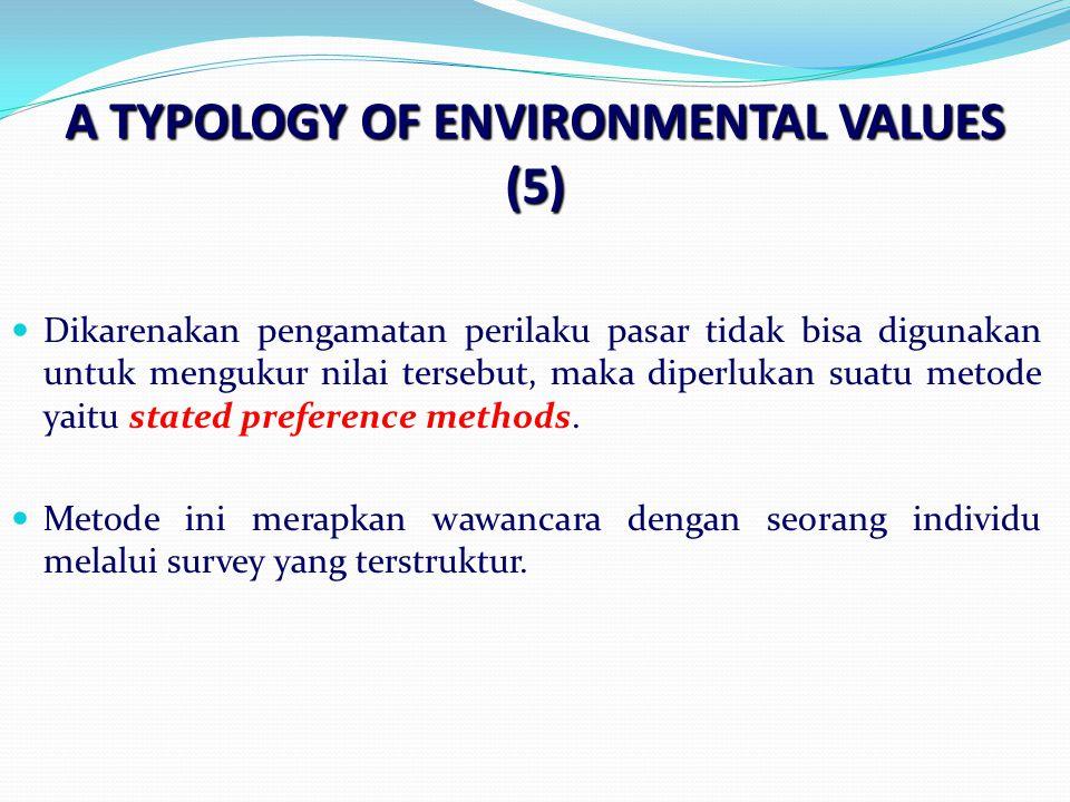A TYPOLOGY OF ENVIRONMENTAL VALUES (5) Dikarenakan pengamatan perilaku pasar tidak bisa digunakan untuk mengukur nilai tersebut, maka diperlukan suatu metode yaitu stated preference methods.