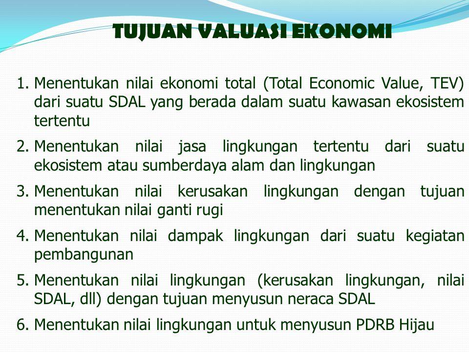 TUJUAN VALUASI EKONOMI 1.Menentukan nilai ekonomi total (Total Economic Value, TEV) dari suatu SDAL yang berada dalam suatu kawasan ekosistem tertentu 2.Menentukan nilai jasa lingkungan tertentu dari suatu ekosistem atau sumberdaya alam dan lingkungan 3.Menentukan nilai kerusakan lingkungan dengan tujuan menentukan nilai ganti rugi 4.Menentukan nilai dampak lingkungan dari suatu kegiatan pembangunan 5.Menentukan nilai lingkungan (kerusakan lingkungan, nilai SDAL, dll) dengan tujuan menyusun neraca SDAL 6.Menentukan nilai lingkungan untuk menyusun PDRB Hijau