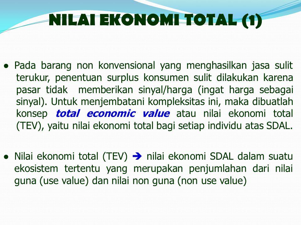 NILAI EKONOMI TOTAL (1) ●Pada barang non konvensional yang menghasilkan jasa sulit terukur, penentuan surplus konsumen sulit dilakukan karena pasar tidak memberikan sinyal/harga (ingat harga sebagai sinyal).