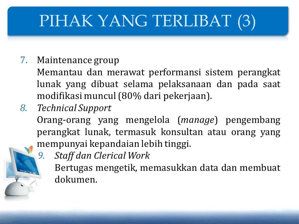 7.Maintenance group Memantau dan merawat performansi sistem perangkat lunak yang dibuat selama pelaksanaan dan pada saat modifikasi muncul (80% dari p