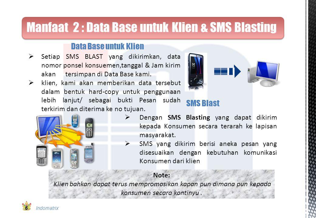 Manfaat 2 : Data Base untuk Klien & SMS Blasting Note: Klien bahkan dapat terus mempromosikan kapan pun dimana pun kepada konsumen secara kontinyu. 6