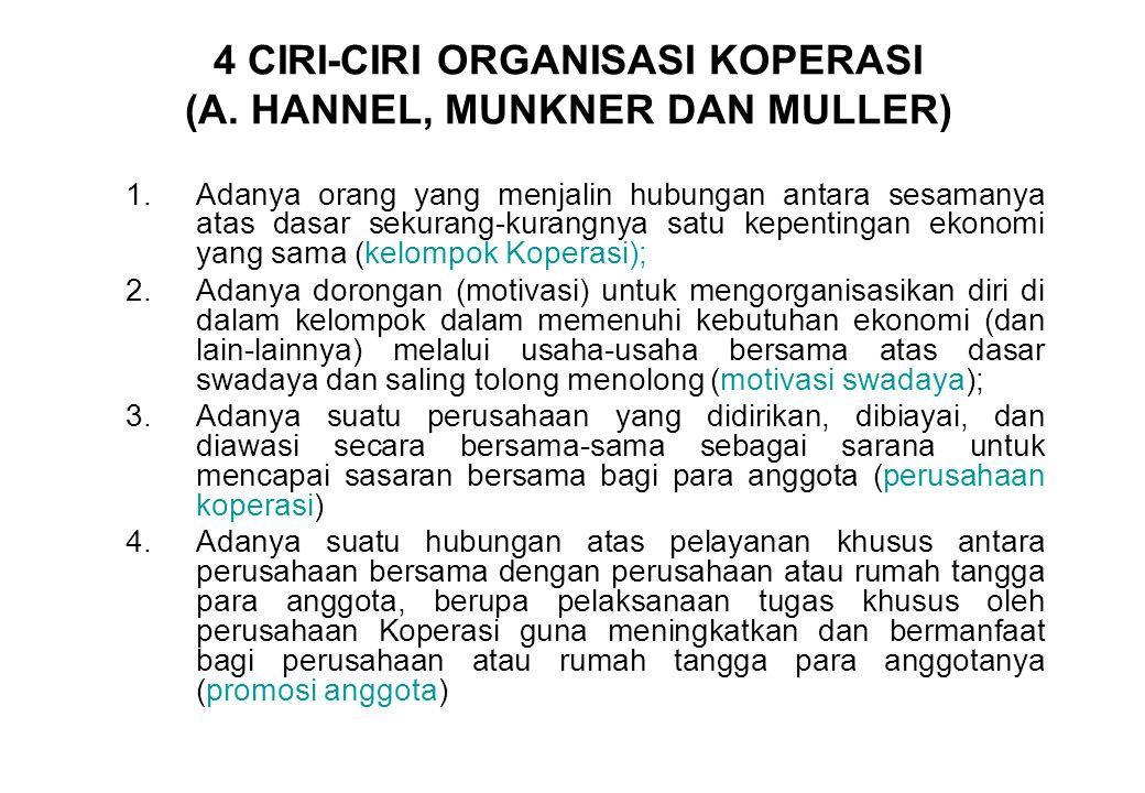 4 CIRI-CIRI ORGANISASI KOPERASI (A. HANNEL, MUNKNER DAN MULLER) 1.Adanya orang yang menjalin hubungan antara sesamanya atas dasar sekurang-kurangnya s