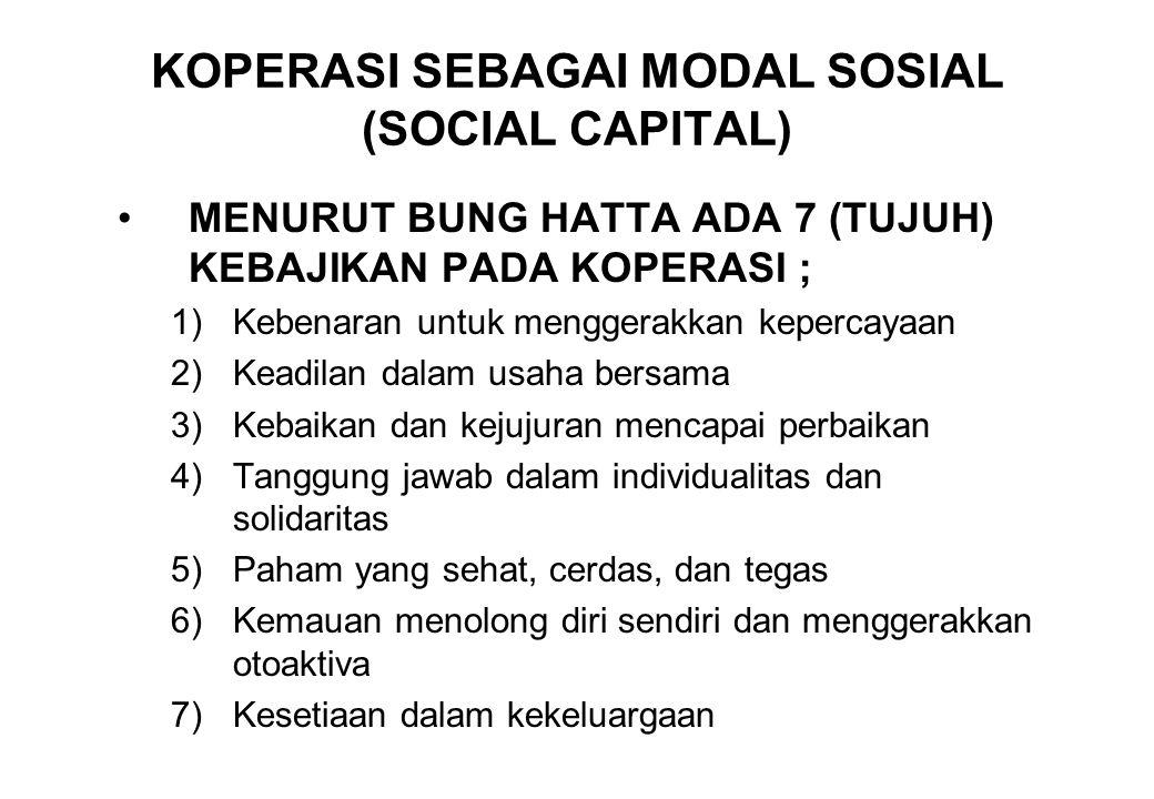 KOPERASI SEBAGAI MODAL SOSIAL (SOCIAL CAPITAL) MENURUT BUNG HATTA ADA 7 (TUJUH) KEBAJIKAN PADA KOPERASI ; 1)Kebenaran untuk menggerakkan kepercayaan 2