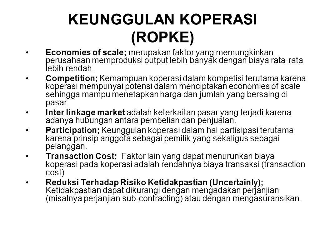 KEUNGGULAN KOPERASI (ROPKE) Economies of scale; merupakan faktor yang memungkinkan perusahaan memproduksi output lebih banyak dengan biaya rata-rata