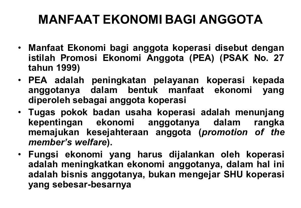 MANFAAT EKONOMI BAGI ANGGOTA Manfaat Ekonomi bagi anggota koperasi disebut dengan istilah Promosi Ekonomi Anggota (PEA) (PSAK No. 27 tahun 1999) PEA a