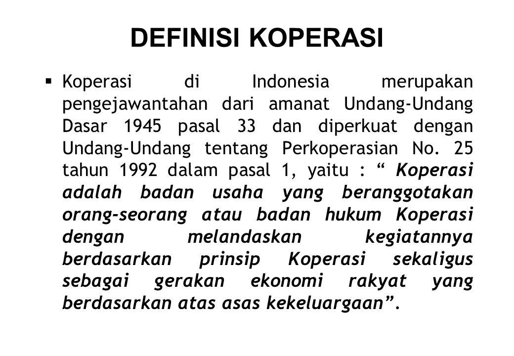 DEFINISI KOPERASI  Koperasi di Indonesia merupakan pengejawantahan dari amanat Undang-Undang Dasar 1945 pasal 33 dan diperkuat dengan Undang-Undang t