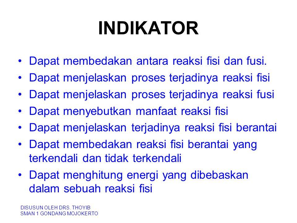 INDIKATOR Dapat membedakan antara reaksi fisi dan fusi. Dapat menjelaskan proses terjadinya reaksi fisi Dapat menjelaskan proses terjadinya reaksi fus