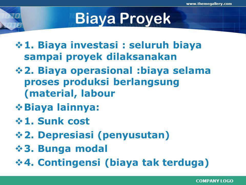 COMPANY LOGO www.themegallery.com Biaya Proyek  1.