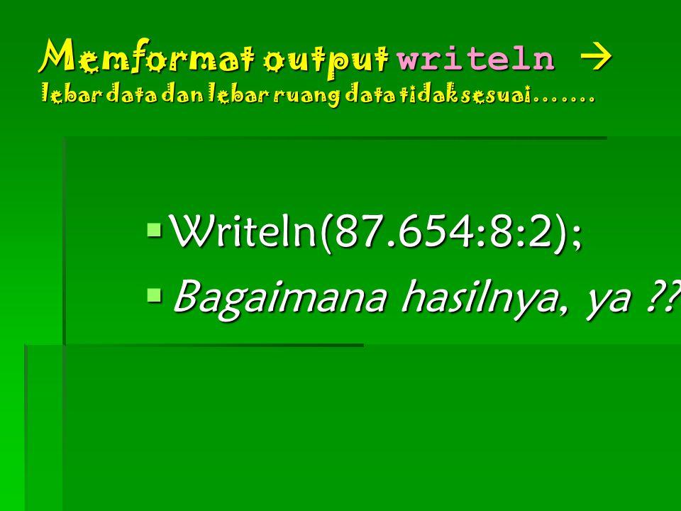 Memformat output writeln  lebar data dan lebar ruang data tidak sesuai…….