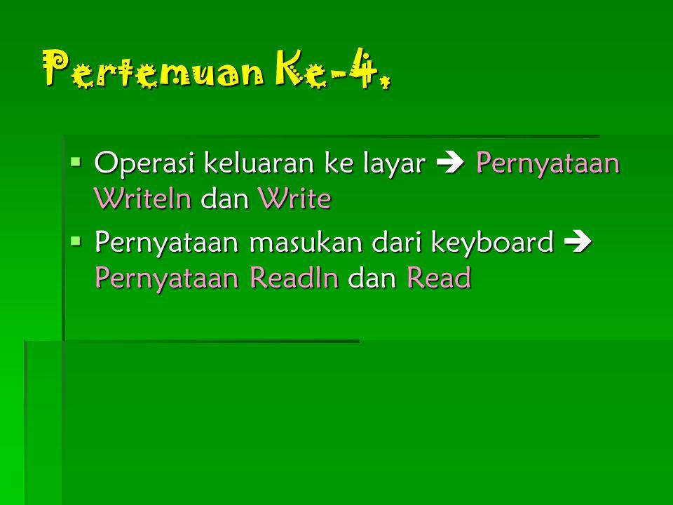 Pertemuan Ke-4,  Operasi keluaran ke layar  Pernyataan Writeln dan Write  Pernyataan masukan dari keyboard  Pernyataan Readln dan Read
