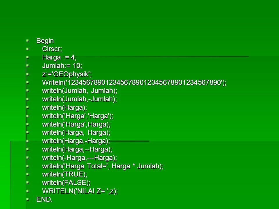  Begin  Clrscr;  Harga := 4;  Jumlah:= 10;  z:='GEOphysik';  Writeln('1234567890123456789012345678901234567890');  writeln(Jumlah, Jumlah);  w